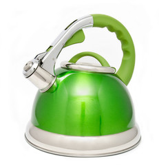 Green tea kettle isolated on white