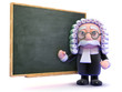 Judge teaches law in front of the chalkboard