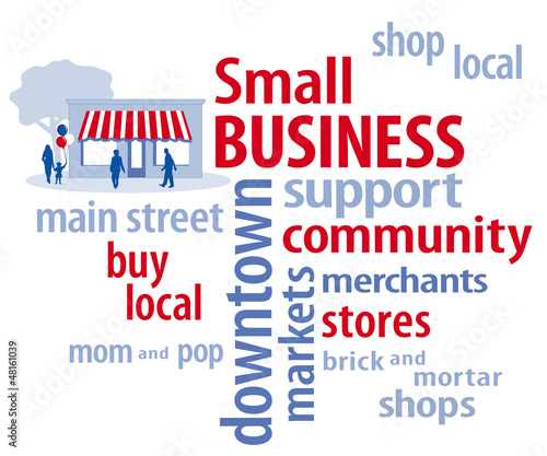 Small Business Word Cloud in Red, White and Blue