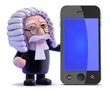 Judge stands by a smartphone