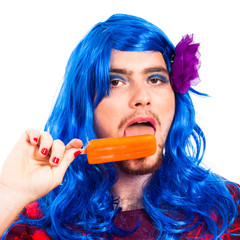 Transvestite man with ice pop