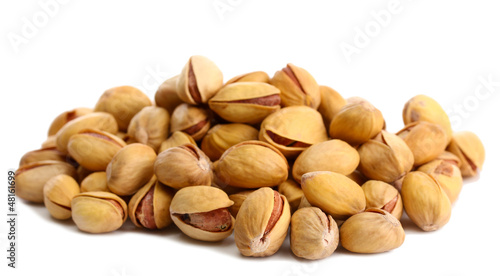 tasty pistachio nuts, isolated on white