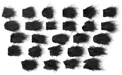 Macchie nere, sfondo bianco, pennello, pennellate