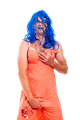 Hilarious transvestite man cross-dressing