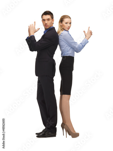 man and woman making a gun gesture