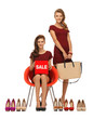 girls in red dresses with shoes, bag and sale sign
