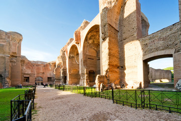 The ruins of the Baths of Caracalla, ancient roman public baths,