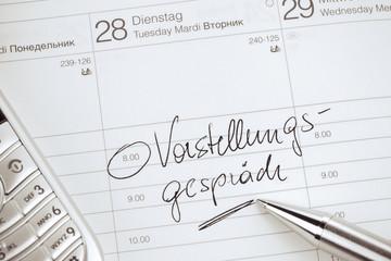 Kalendereintrag Vorstellungsgespräch