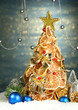 beautiful christmas tree of dry lemons with decor,