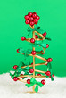 Wire Christmas tree on green background