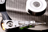 Close up of hard disk drive