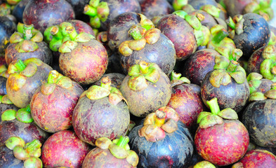 Mangosteen on sales in the market of Thailand