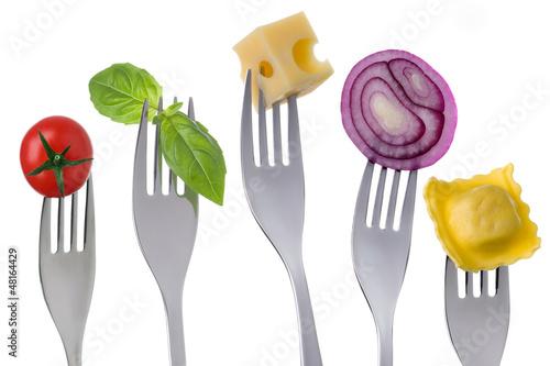 healthy balanced food on white