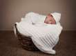 adorable baby boy sleeping in a wicker