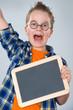 happy boy with little blackboard