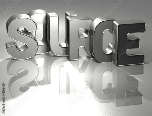 3D Word Source on silver background