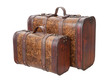 Two Vintage Suitcases Isolated on white