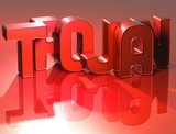3D Word Trojan on red background poster