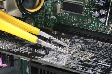 Computer technician repairing concept of troubleshooting