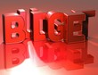 3D Word Budget on red background