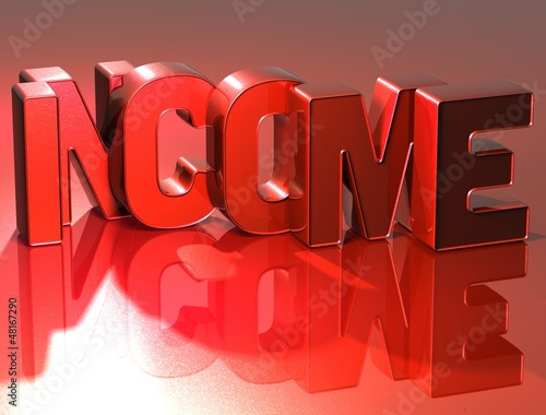 3D Word Income on red background