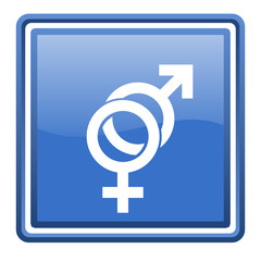 sex blue glossy square web icon isolated