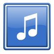 music blue glossy square web icon isolated