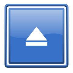 eject blue glossy square web icon isolated