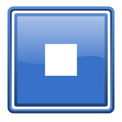 stop blue glossy square web icon isolated