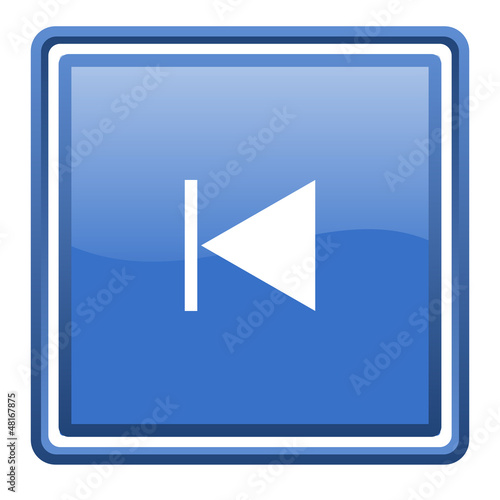 prev blue glossy square web icon isolated