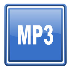 mp3 blue glossy square web icon isolated