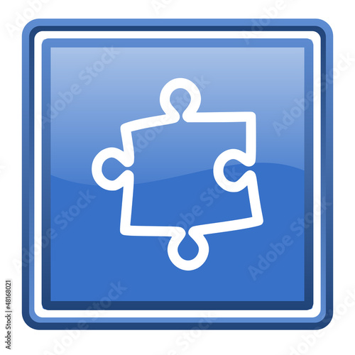 puzzle blue glossy square web icon isolated