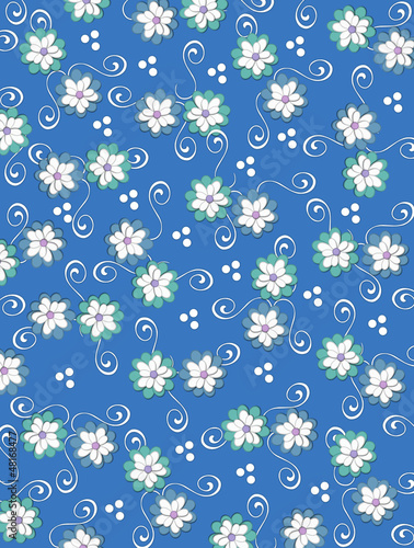 Background Pale Petals on Denim Blue
