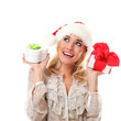 Young caucasian woman in christmas cap