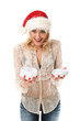 Young caucasian woman in christmas cap