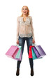 Young woman holds shopping bags and smiling