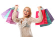 Young beautiful caucasian woman holds bags