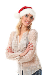 Young casual woman in a christmas cap smiling