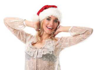 Young caucasian woman in a christmas cap smiling