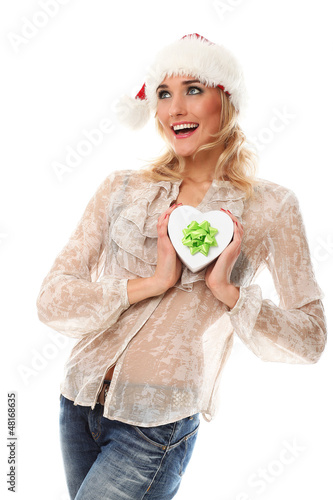 Young casual caucasian woman in christmas cap