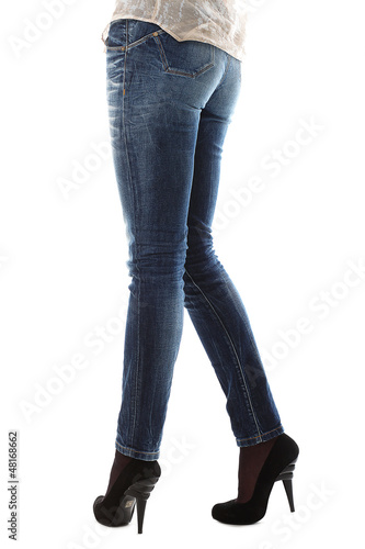 Closeup of beautiful legs in jeans