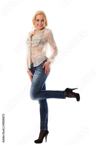 Full length portrait of beautiful woman posing