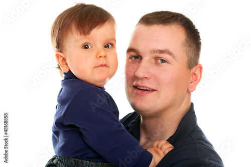 Father and son playing isolated