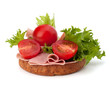 healthy sandwich with vegetable and smoked ham