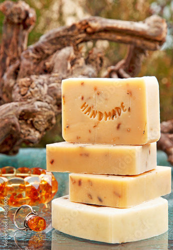 Handmade soap still life with jewelery (lavender)