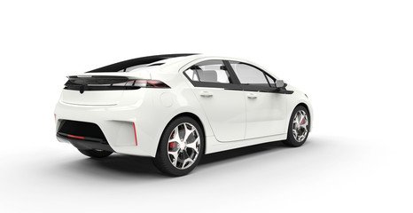 White Electric Car back View