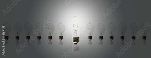Light bulb lamps on a white background