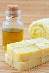 Hand-made marigold  soap with olive oil