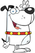 Happy White Dog Cartoon Character Waving For Greeting