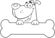 Outlined Cartoon Dog Over Bone Banner
